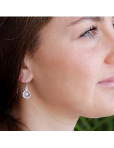 Boucles d'oreilles argent et quartz rose 2