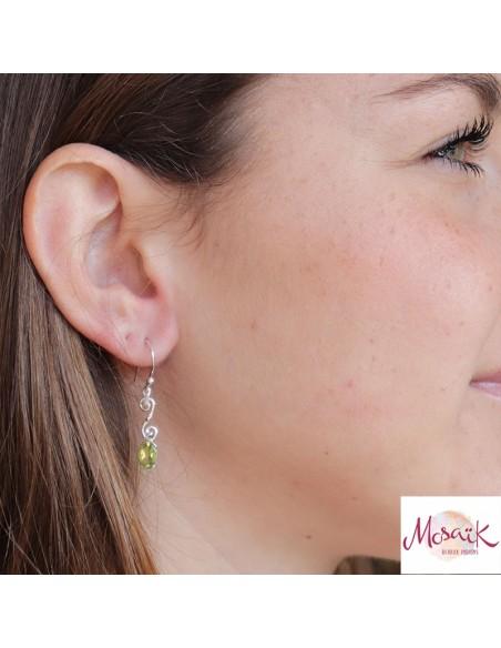 Boucles d'oreilles argent et péridot