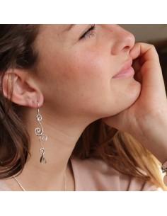 Boucles d'oreilles argent et quartz rutile 2