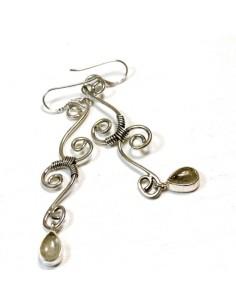 Boucles d'oreilles argent et quartz rutile