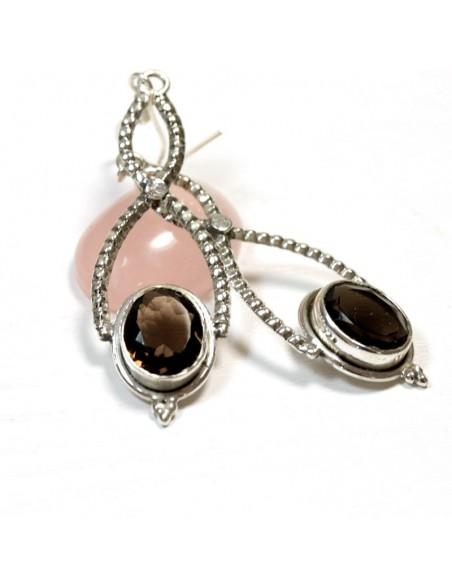 Boucles d'oreilles argent et quartz fumé