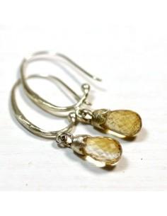 Boucles d'oreilles argent et citrine