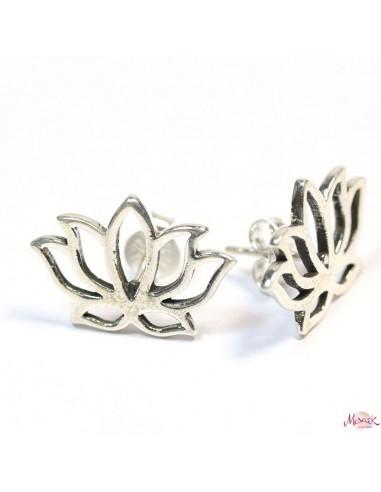 Studs lotus en argent - Mosaik bijoux indiens