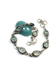 Bracelet argent et fluorite