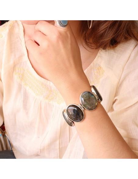 Bracelet souple argent et labradorite naturelles - Mosaik  bijoux indiens