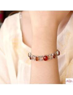 Bracelet argent souple et ambre - Mosaik  bijoux indiens 2