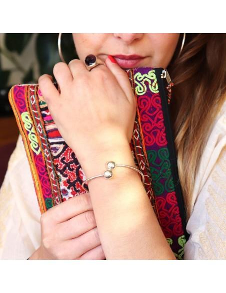 Bracelet argent fin à boules - Mosaik  bijoux indiens