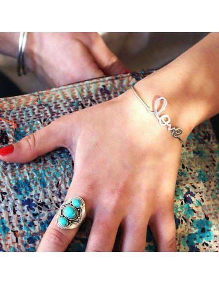 Jonc argent écriture love - Mosaik  bijoux indiens