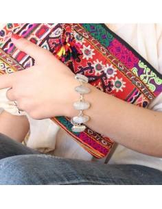 Gros bracelet ethnique argent et pierre de lune - Mosaik  bijoux indiens 2