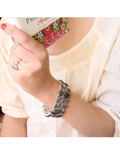 Gros bracelet argent ethnique et labradorites - Mosaik  bijoux indiens 2