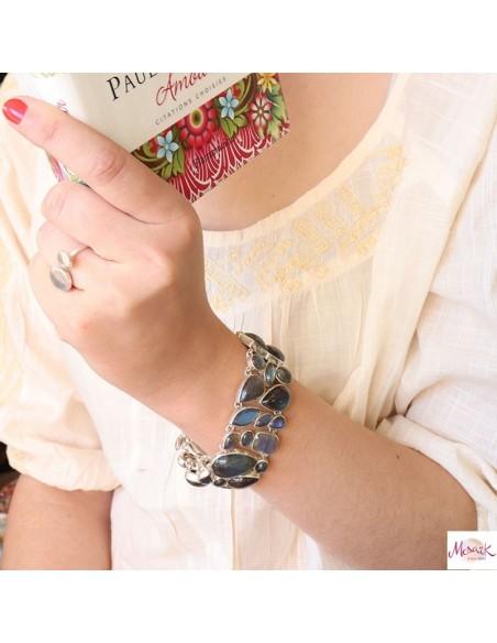 Large bracelet argent et labradorite
