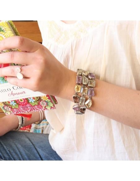 Gros bracelet argent et pierres semi précieuses
