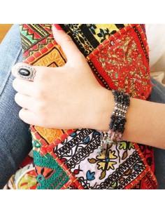 Large bracelet argent et tourmaline - Mosaik  bijoux indiens 2