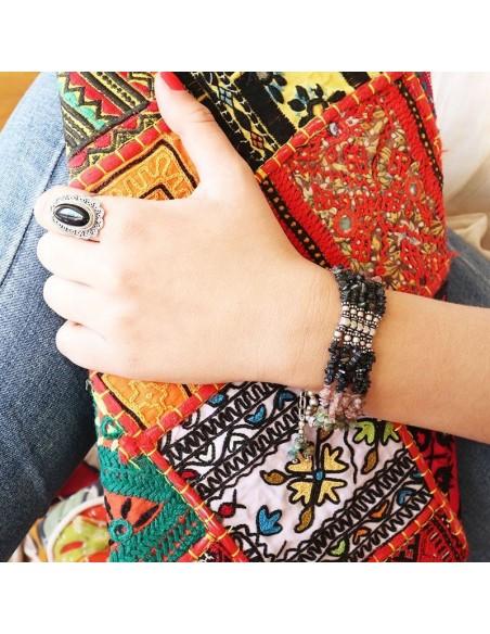 Large bracelet argent et tourmaline