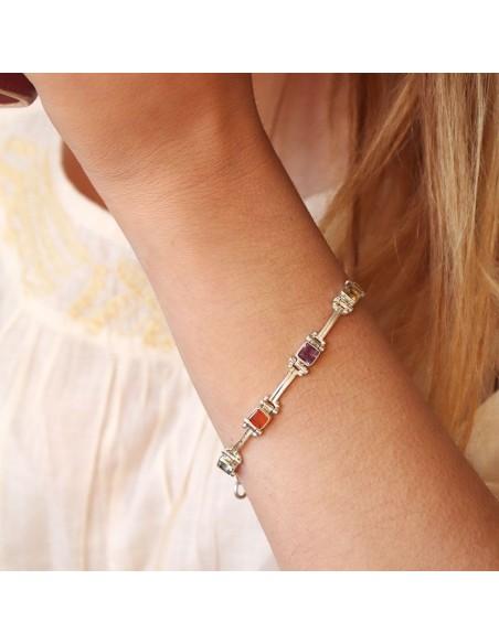 Bracelet argent et pierres semi précieuses