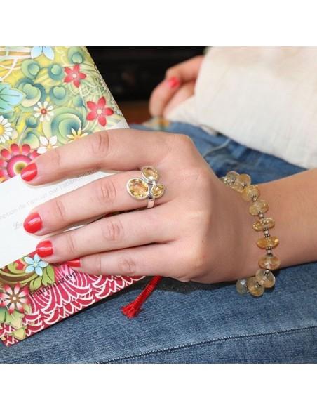 Bracelet argent et citrine