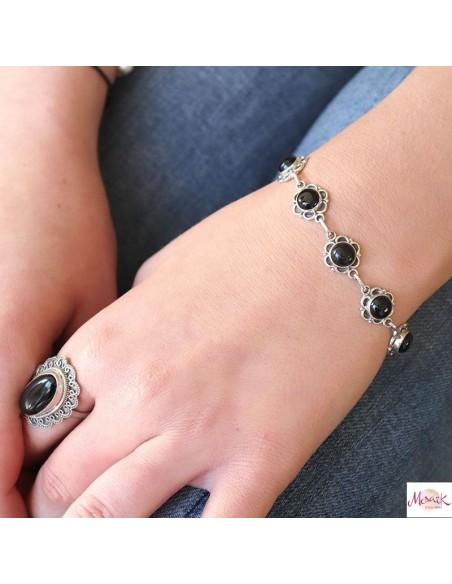 Bracelet fleur argent et onyx