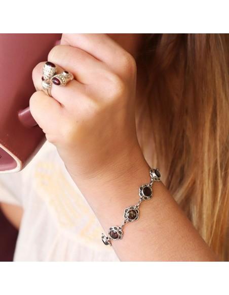Bracelet argent et quartz fumé