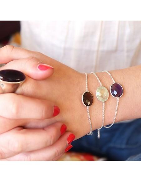 Bracelet argent et préhnite