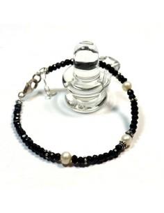 Bracelet onyx et perle