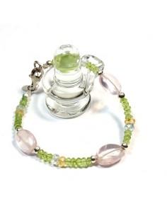 Bracelet péridot et quartz rose