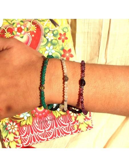 Bracelet agate verte et argent