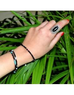 Bracelet onyx et perle 2