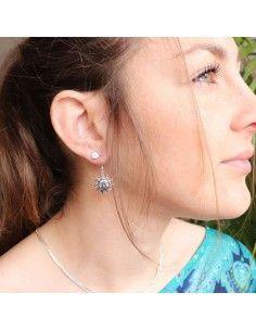 Boucles d'oreilles argent soleil 2