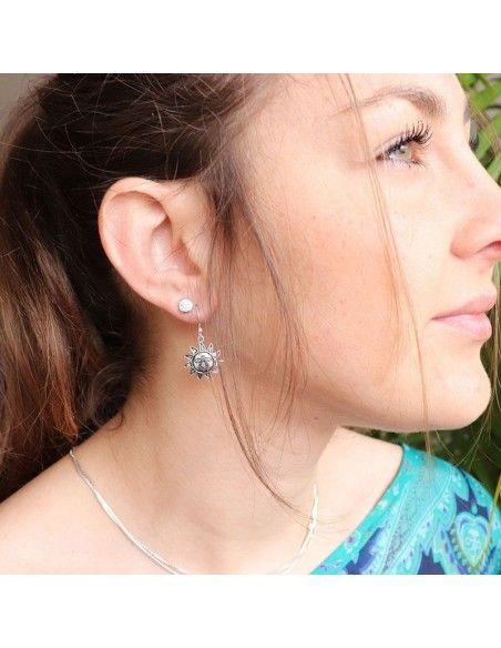 Boucles d'oreilles argent soleil