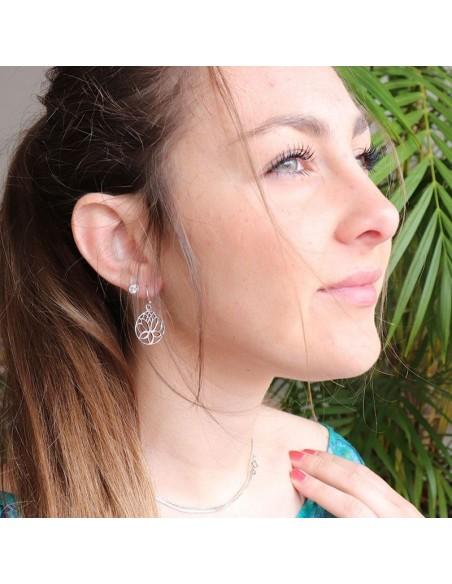 Boucles d'oreilles argent et fleur de lotus