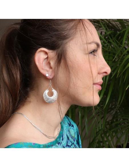 Boucles d'oreilles argent motifs ciselés