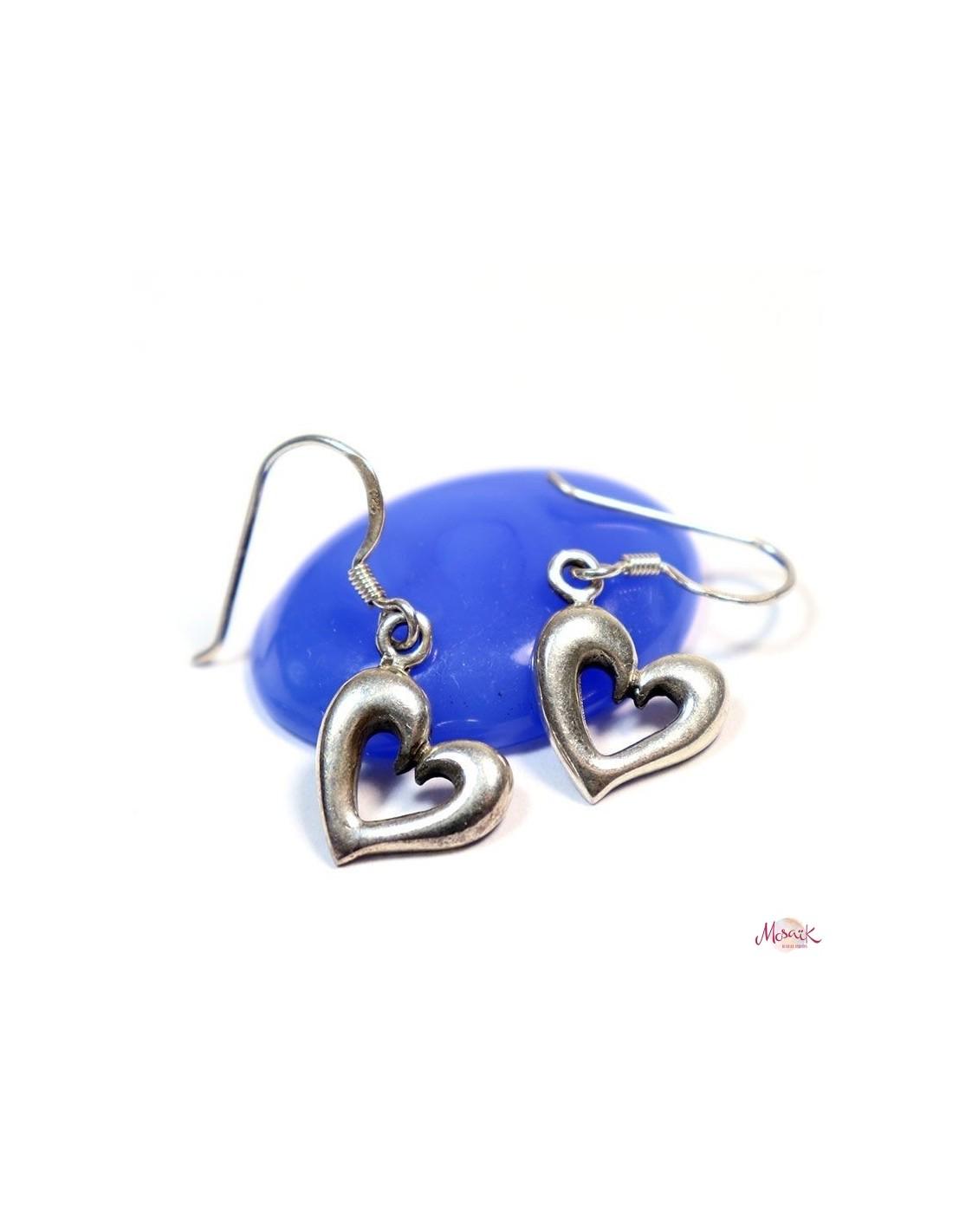 Boucles d 39 oreille argent forme de coeur bijoux en argent - Fermoir boucle d oreille argent ...