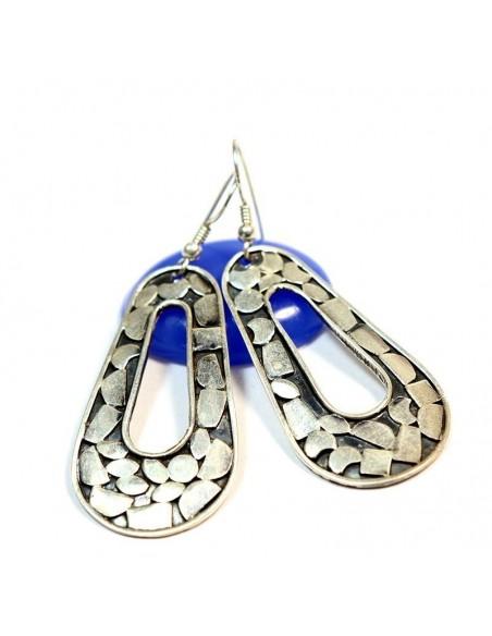 Boucles d'oreilles argent travaillées -  Mosaik bijoux indiens