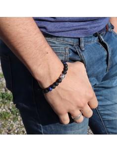 Bracelet pierres de lave et lapis lazuli 2