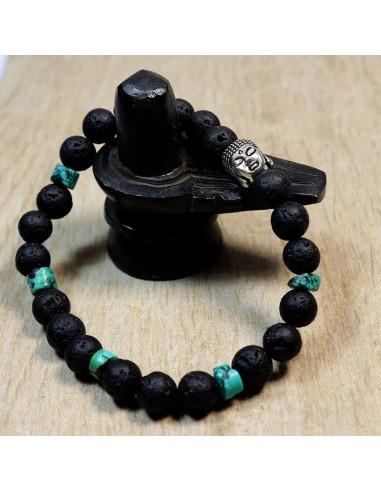 Bracelet pierres de lave et turquoise