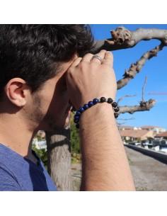 Bracelet pierre de lave et lapis lazuli 2
