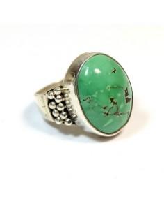 Bague argent et turquoise verte - Mosaik bijoux indiens