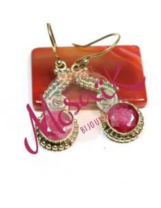 Boucles d'oreilles laiton et rubis indien