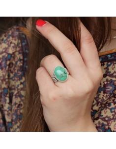 Bague argent et turquoise verte - Mosaik bijoux indiens 2