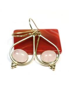 Boucles d'oreilles laiton et quartz rose