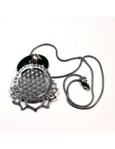 Pendentif petit modèle plaqué argent fleur de vie et lotus