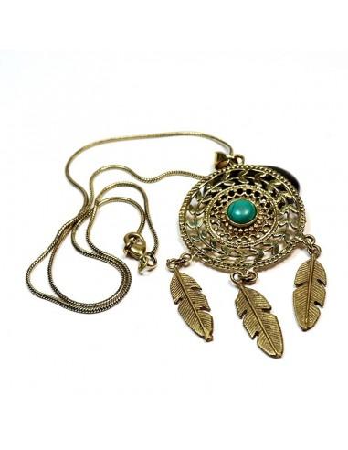Collier pendentif attrape rêve laiton et turquoise