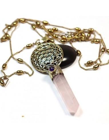 Collier laiton et pendentif quartz rose