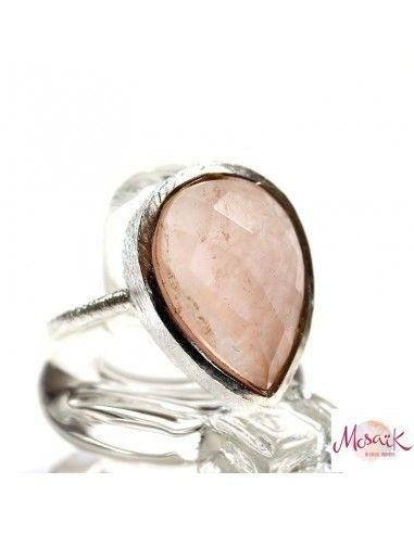 Bague goutte quartz rose - Mosaik bijoux indiens