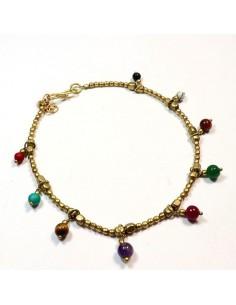 Chaine de cheville perles multicolores