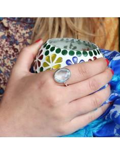 Bague argent et topaze bleue taillée - Mosaik bijoux indiens 2