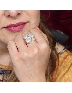 Bague argent et 5 pierres de lune - Mosaik bijoux indiens 2