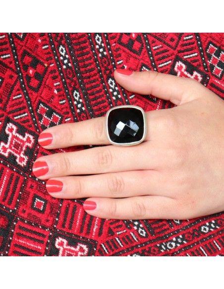 Grosse Bague carré argent et onyx - Mosaik bijoux indiens