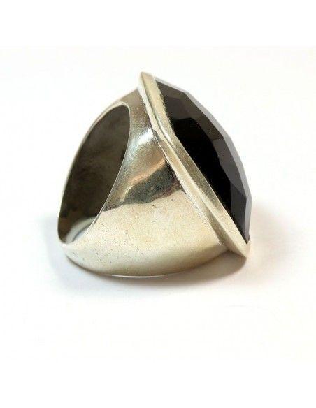 Grosse Bague carrée argent et onyx noir - Mosaik bijoux indiens