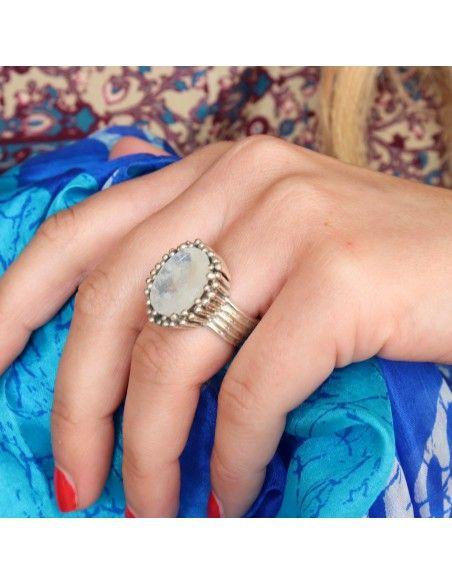 Grosse bague en argent et pierre de lune naturelle - Mosaik bijoux indiens